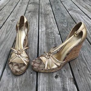 Coach gold and cork wedges
